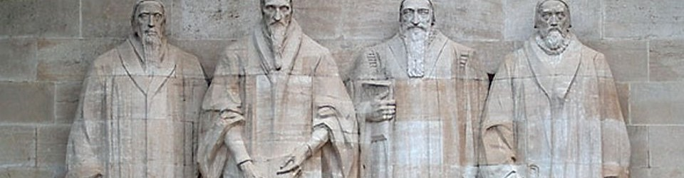 This is a photograph of the reformation wall at the University of Geneva and depicts from left to right some of the great reformers: Guillaume Farel, Johannes Calvin, Théodore de Bèze and John Knox.